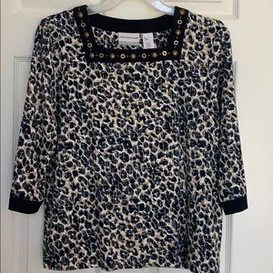 Alfred Dunner Interrupted Animal Print Top PM